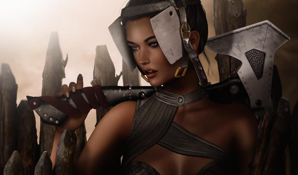 1024x600 wallpaper Fantasy girl, warrior, artwork