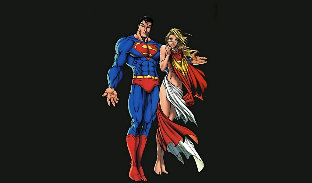 1024x600 wallpaper Super man and super girl minimalism, artwork