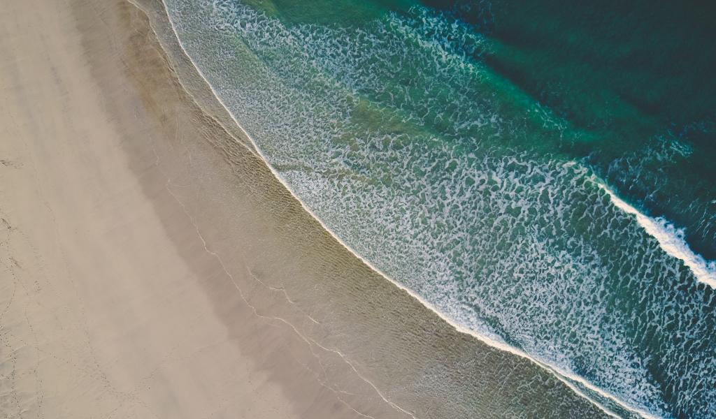 1024x600 wallpaper Aerial view, beach, sea waves