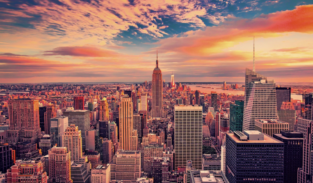 1024x600 wallpaper Empire state building, buildings, skyscrapers, new york city, sunset, 4k