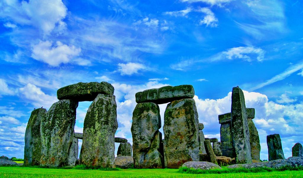 1024x600 wallpaper Stonehenge, stones, monument stone, nature