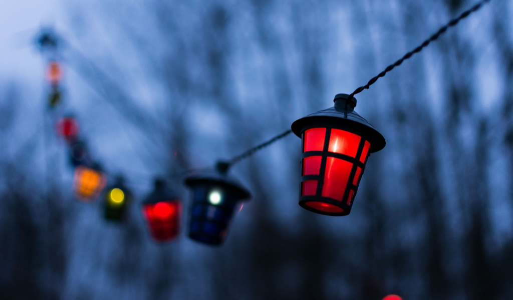1024x600 wallpaper Lantern, decorations, night