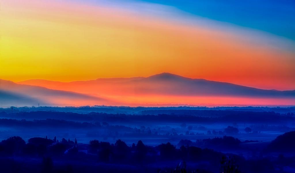 1024x600 wallpaper Italy sunrise, morning, horizon