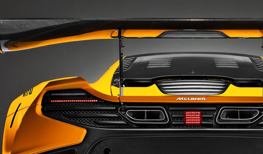1024x600 wallpaper McLaren 650S GT3, rear view, yellow car