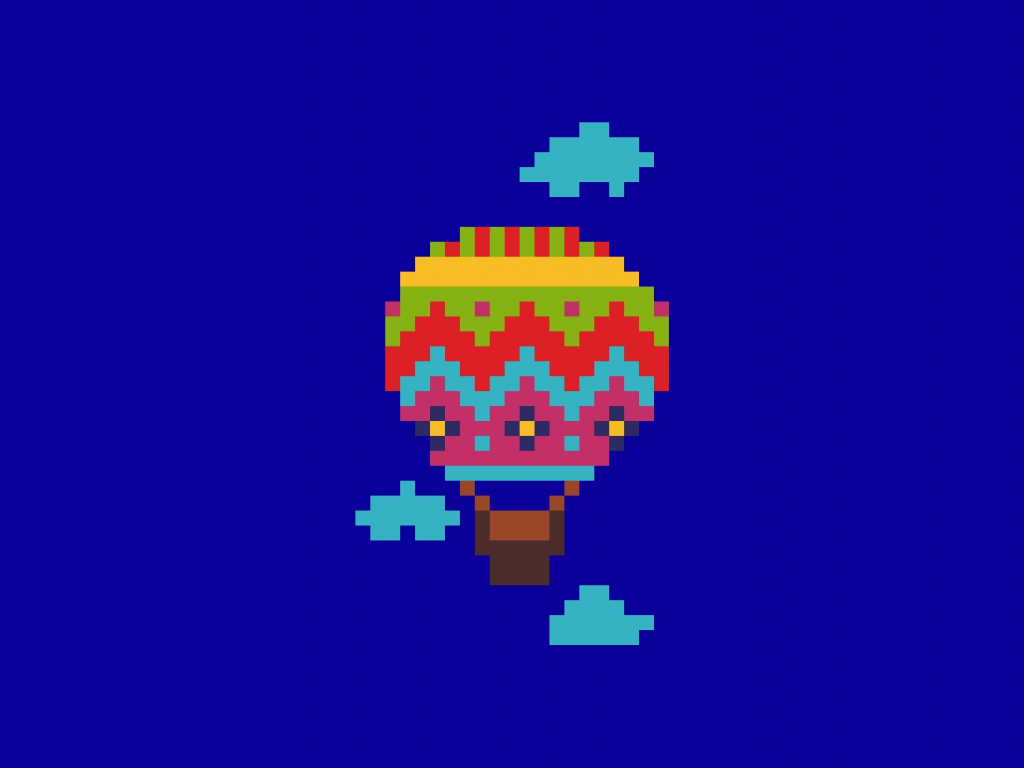 desktop wallpaper hot air balloon pixel art hd image