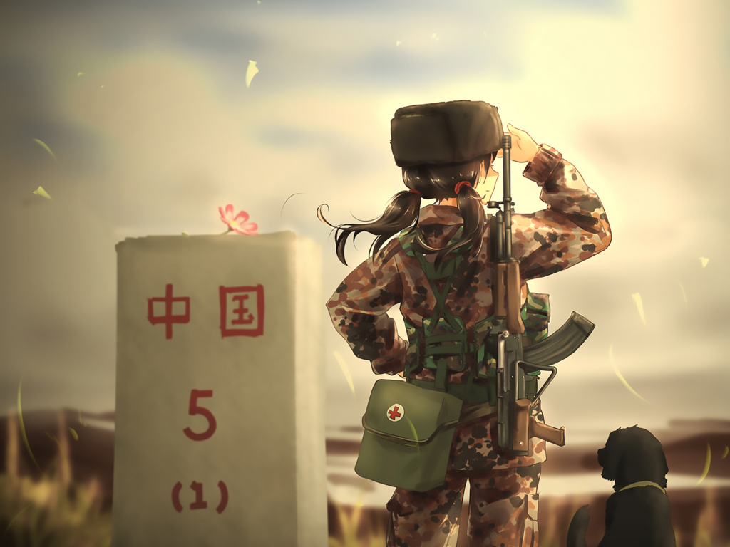 desktop wallpaper soldier  army  anime girl  dog  hd image  picture  background  2282c8