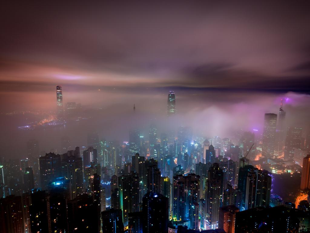1024x768 wallpaper Clouds, aerial view, hong kong, city, night, buildings, mist