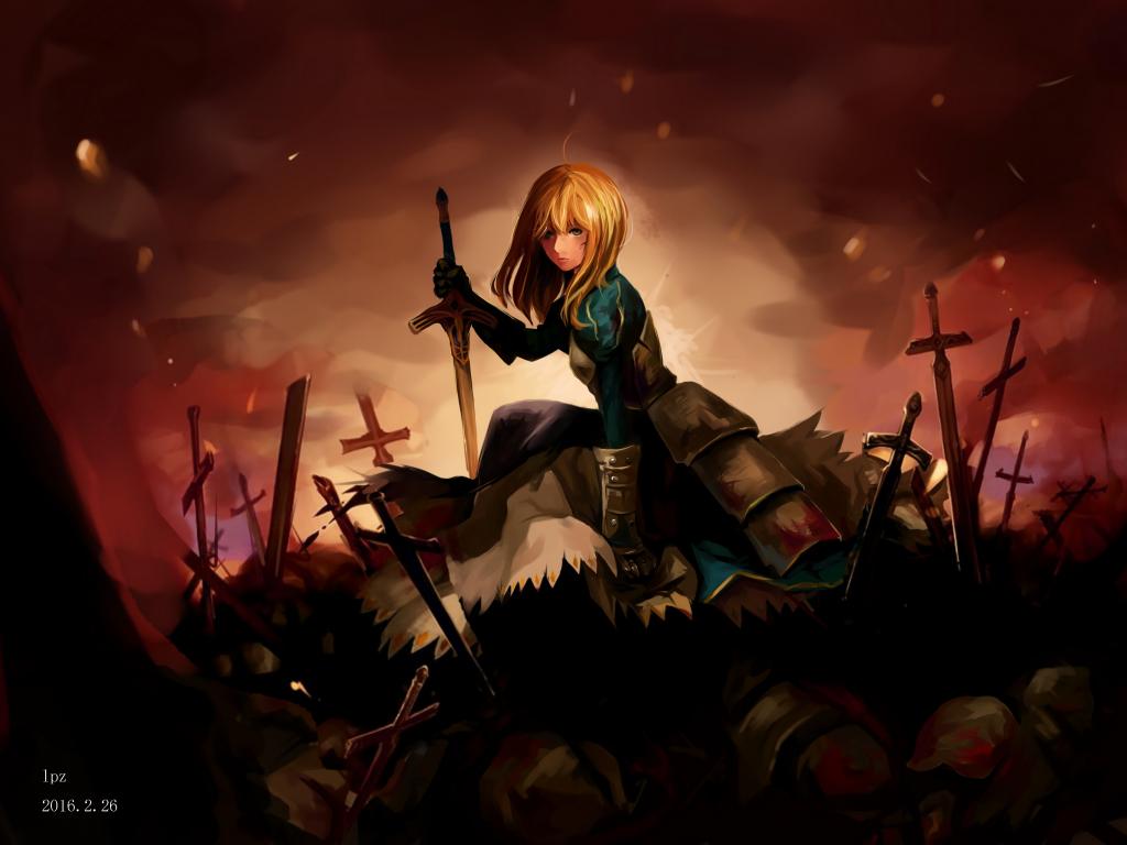 Desktop wallpaper saber war field anime girl fate - Anime war wallpaper ...