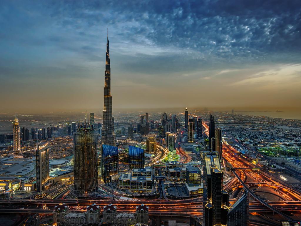 Desktop wallpaper burj khalifa dubai city night buildings aerial view hd image picture - Dubai burj khalifa hd photos ...