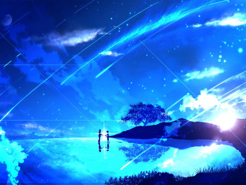 Desktop Wallpaper Couple, Anime Girl, Night, Kimi No Na Wa