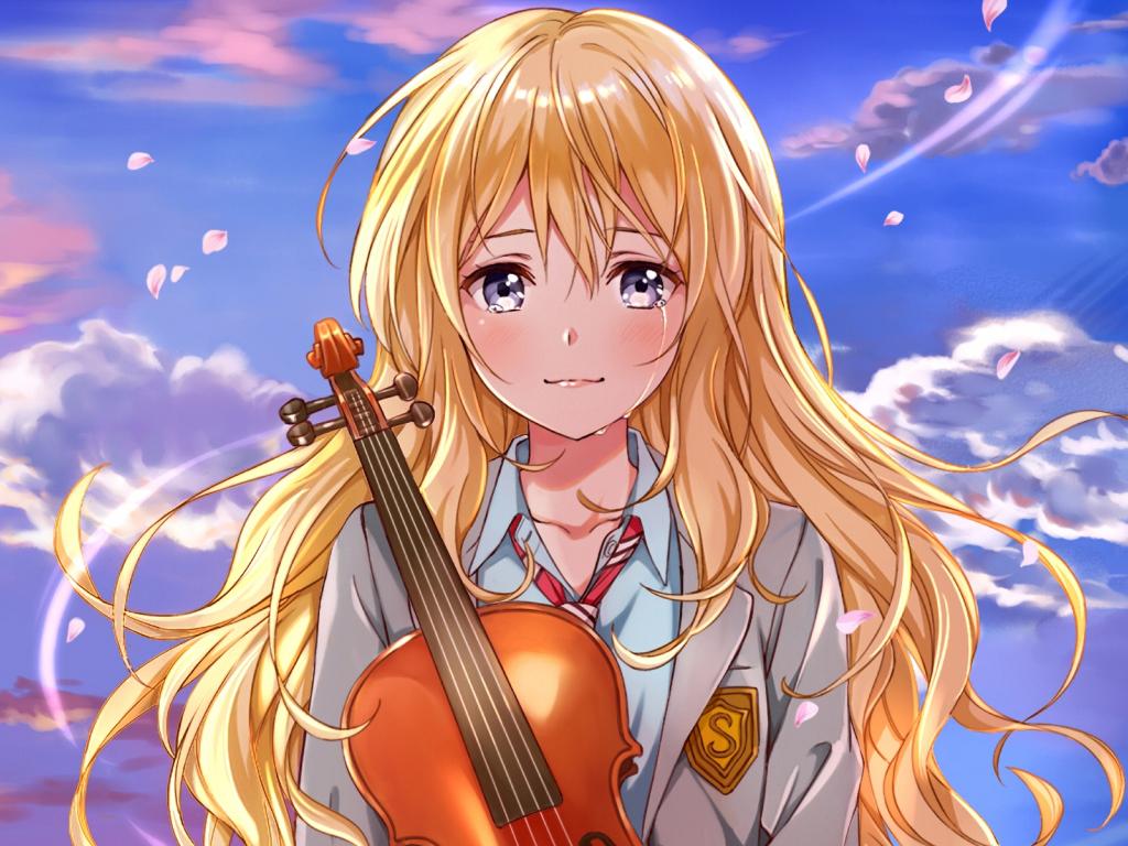 Desktop Wallpaper Kaori Miyazono Anime Girl Crying Hd