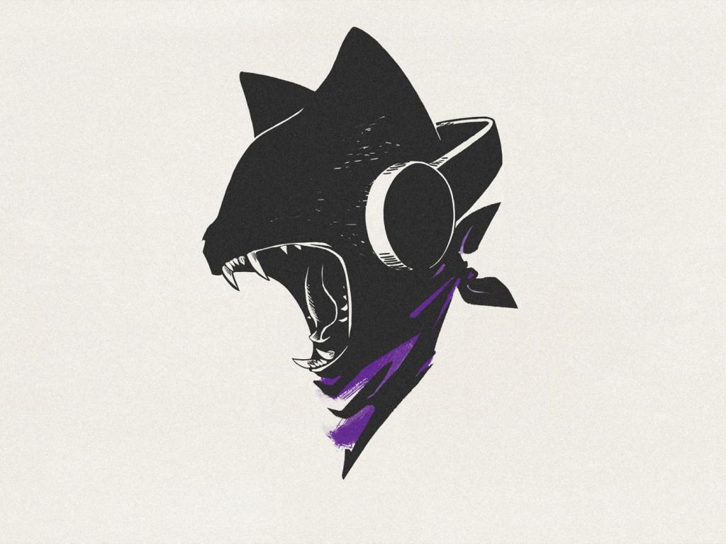 1024x768 wallpaper Monstercat, cat, minimal, roar