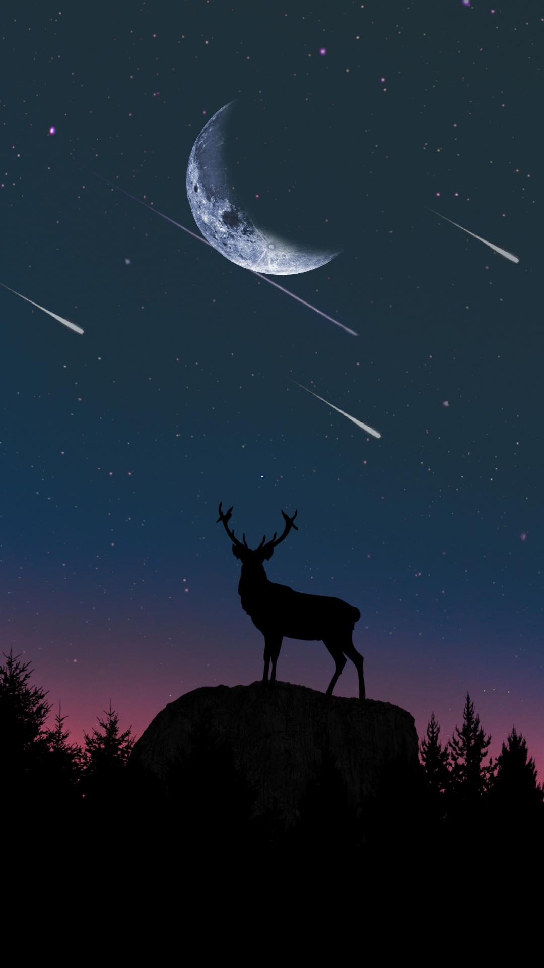 Download 1080x1920 Wallpaper Deer Moon Night Artwork