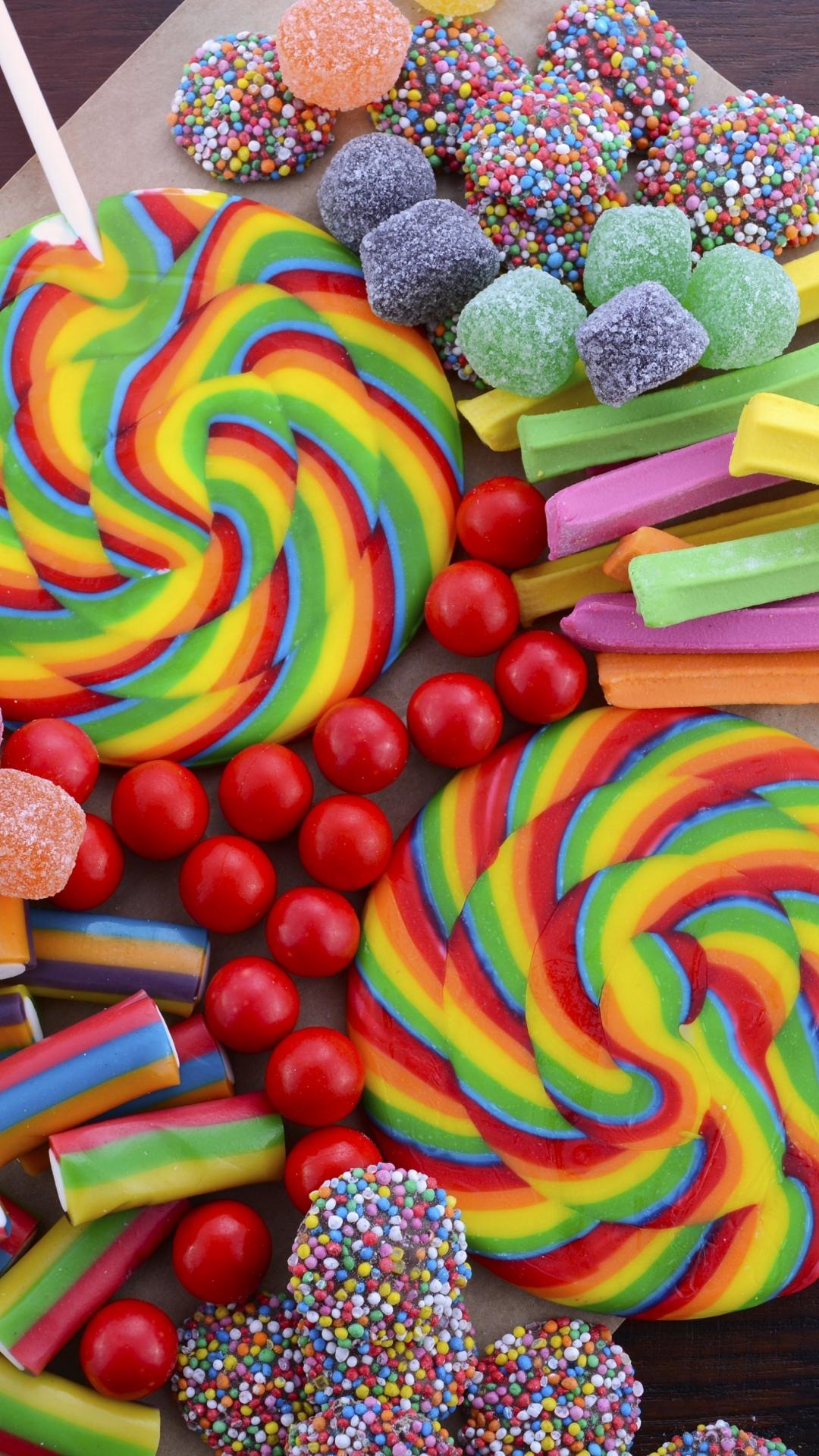 Download 1080x1920 Wallpaper Colorful, Lollipop, Candies, Sweets, 4k
