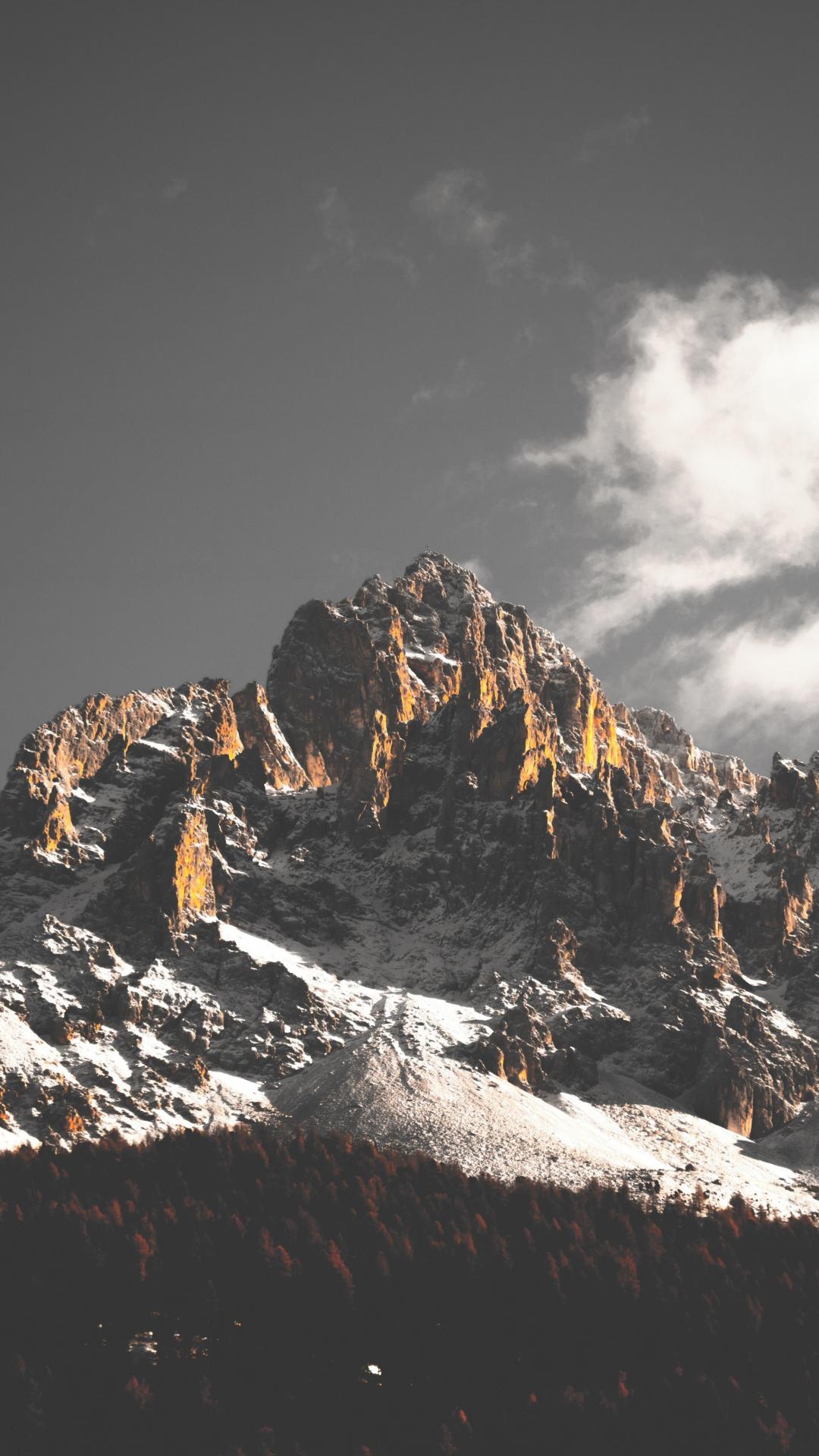 1080x1920 wallpaper Mountains, cliffs, nature, tree, 5k