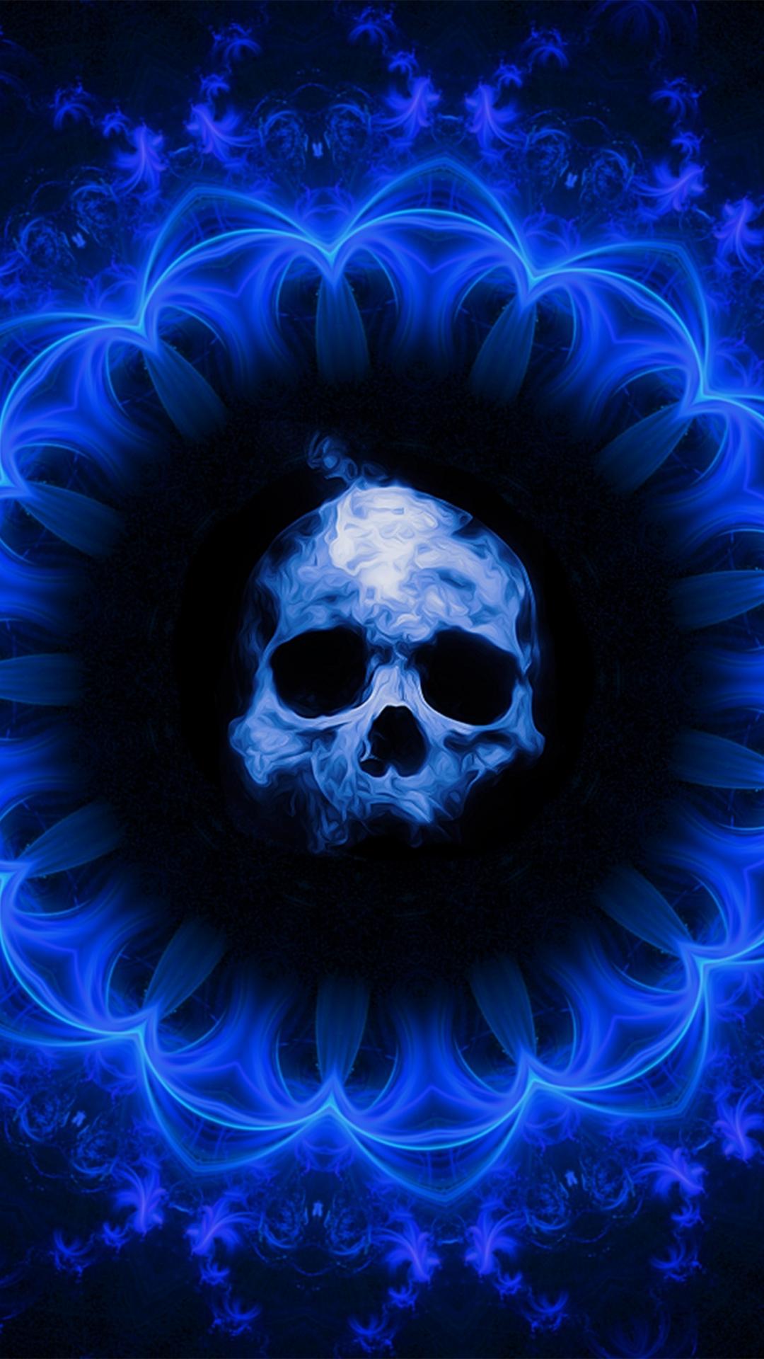 Download 1080x1920 Wallpaper Skull Dark Blue Gothic Abstract