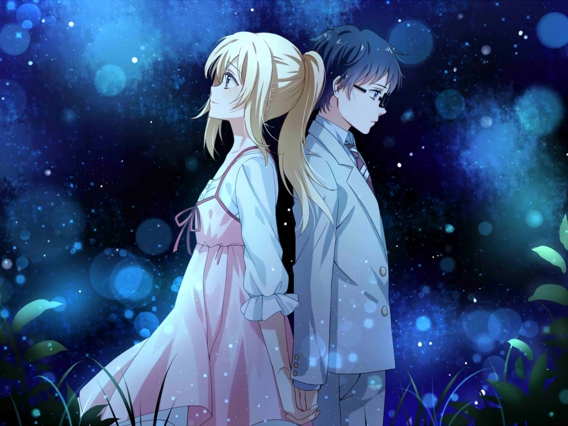 1152x864 wallpaper Anime couple, Kaori Miyazono, Kousei Arima, Your Lie in April