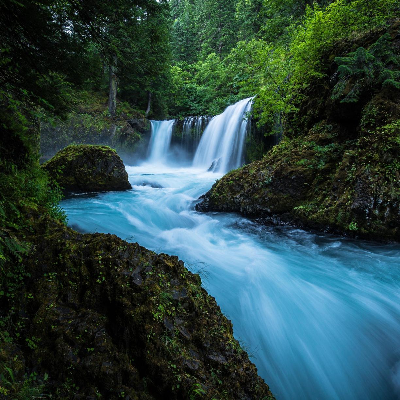 Desktop Wallpaper Forest, Waterfall, River, Nature, 4k, Hd