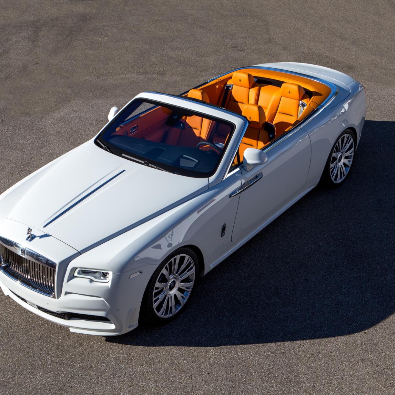 1224x1224 wallpaper White Rolls-Royce Dawn, top view, luxury car