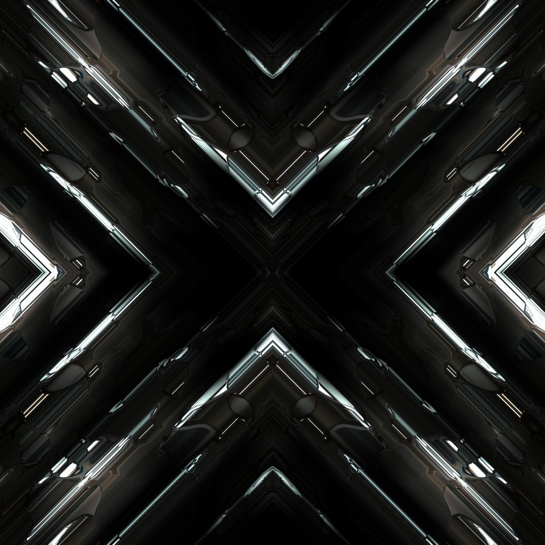 Desktop Wallpaper Fractal, Dark, Glowing Lines, Abstract