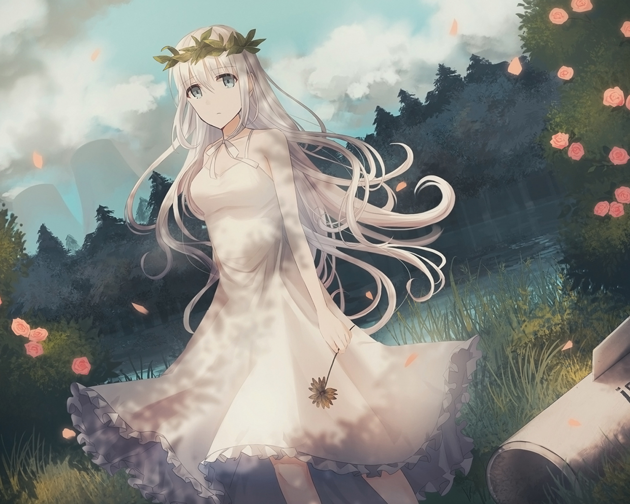 Download 1280x1024 wallpaper white hairs anime girl flower crown 1280x1024 wallpaper white hairs anime girl flower crown outdoor izmirmasajfo