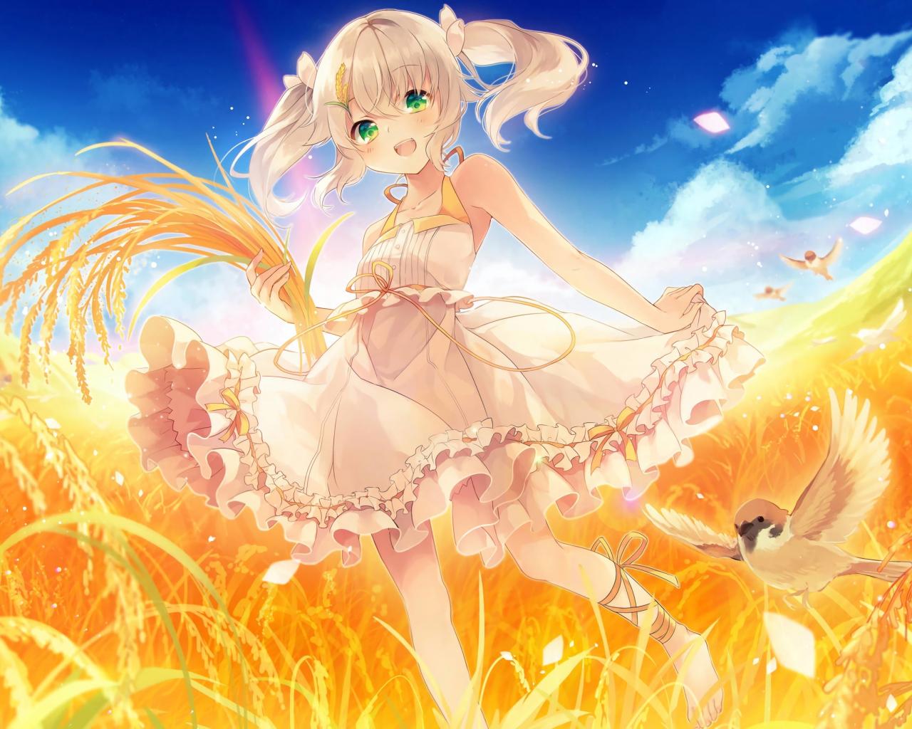 download 1280x1024 wallpaper happy blonde anime girl