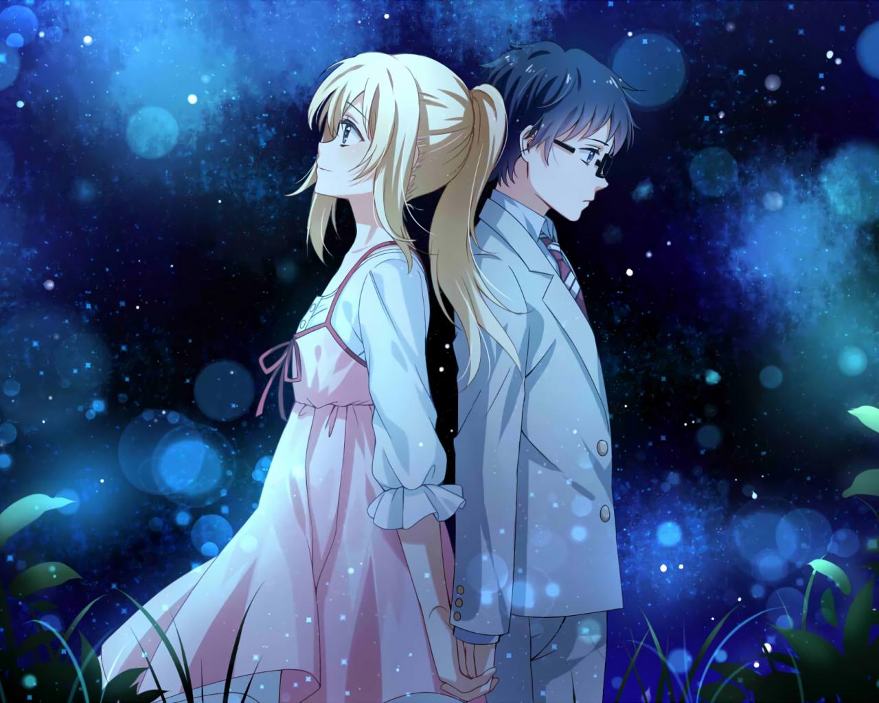 1280x1024 wallpaper Anime couple, Kaori Miyazono, Kousei Arima, Your Lie in April