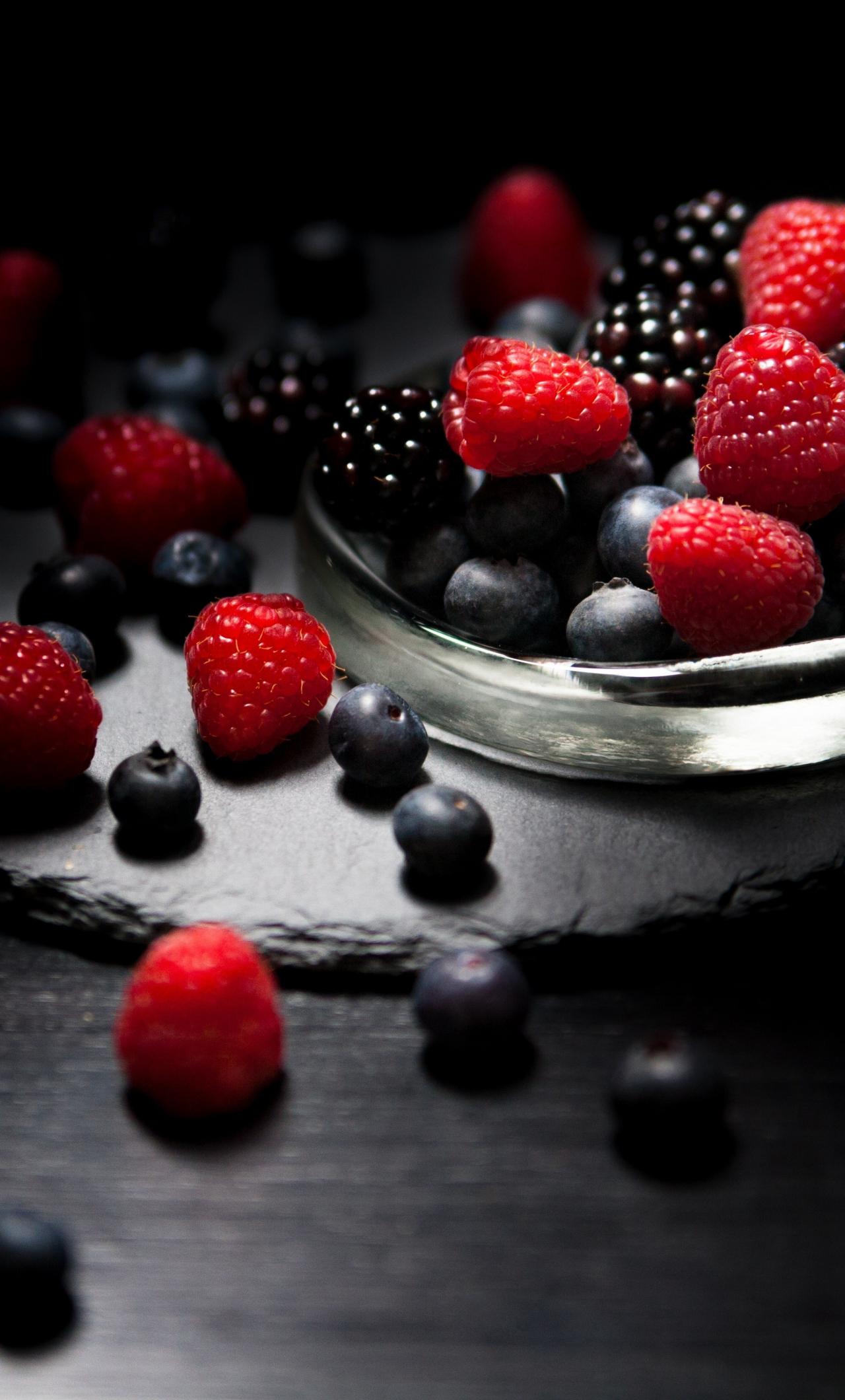 1280x2120 wallpaper Dark mood, food, fruits, blueberry, raspberry, blackberry, 4k