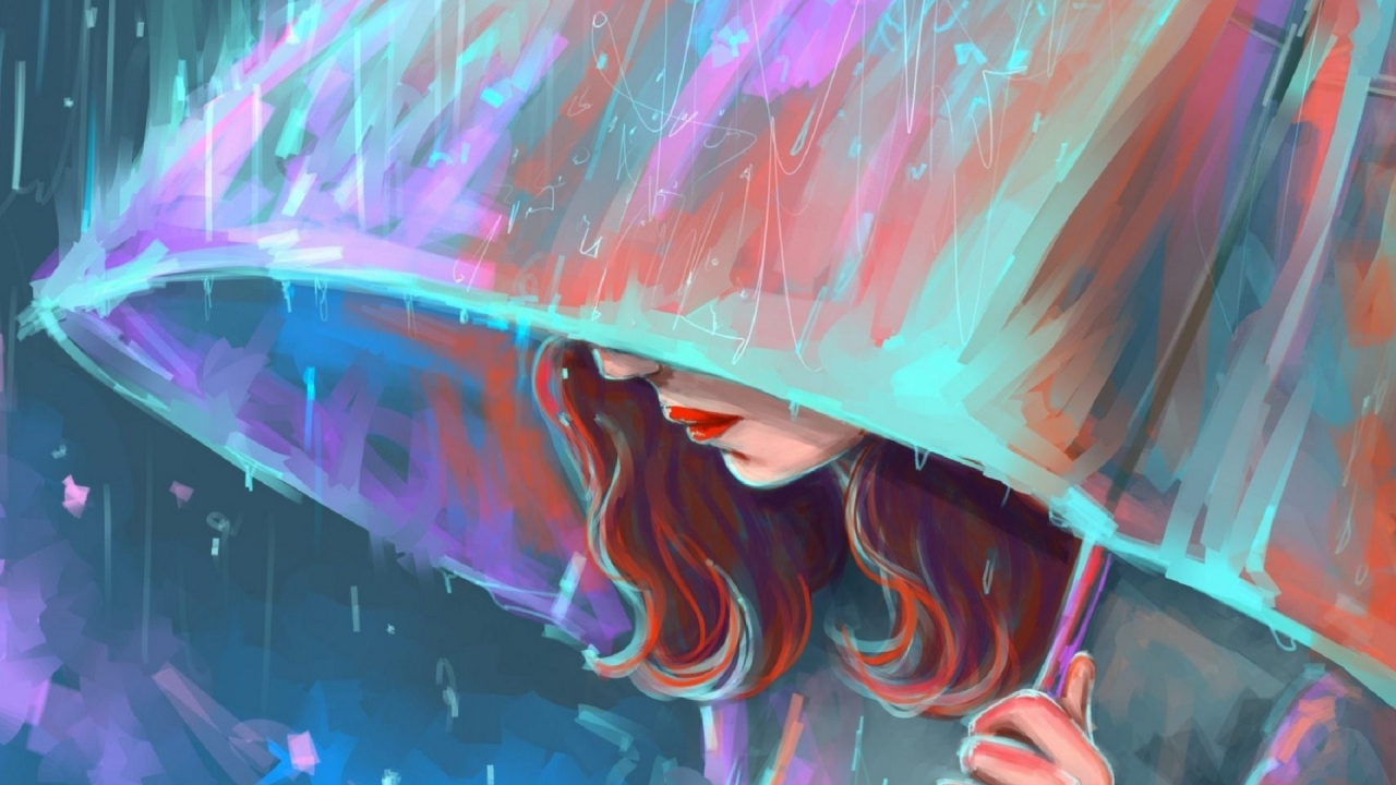 Desktop Wallpaper I Miss You Sad Girl In Rain With Umbrella Painting Artwork Hd Image Picture Background F4qwf