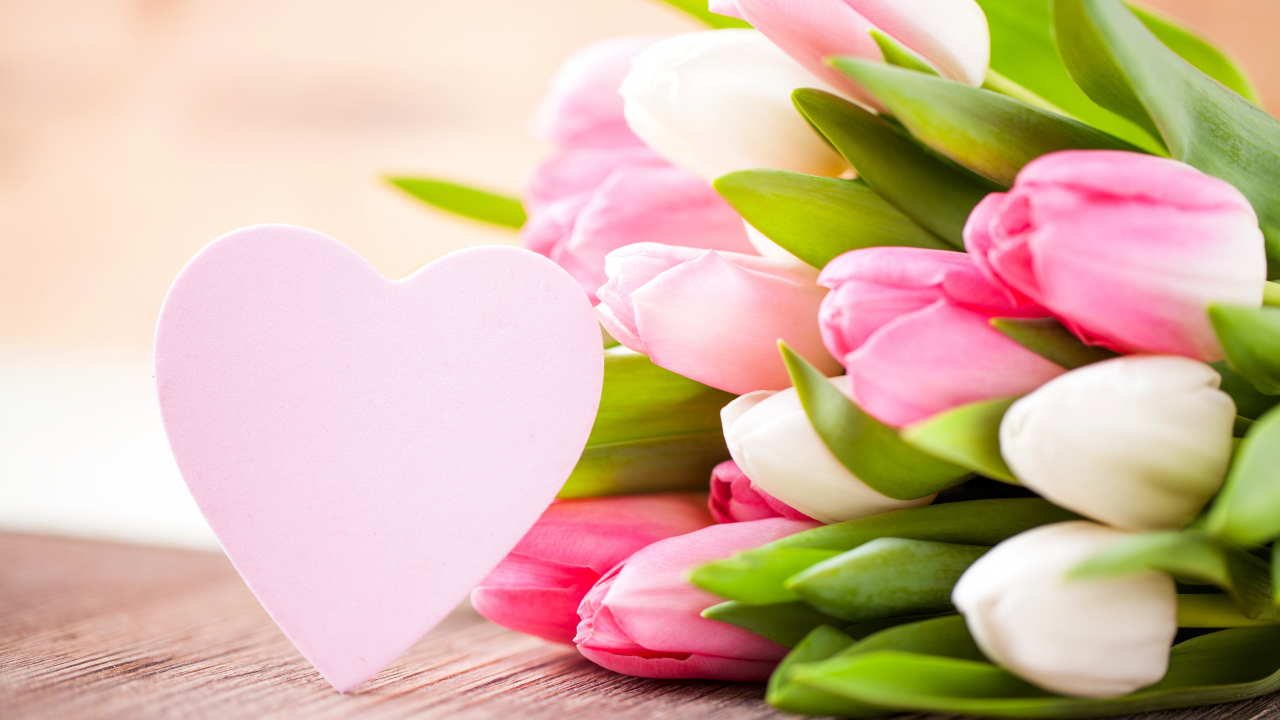 1280x720 wallpaper Valentines day, flowers, tulips, hearts, love