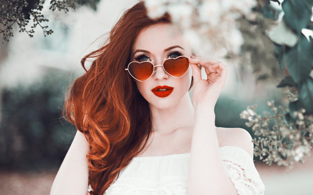1280x800 wallpaper Heart shape sunglasses, red head, model