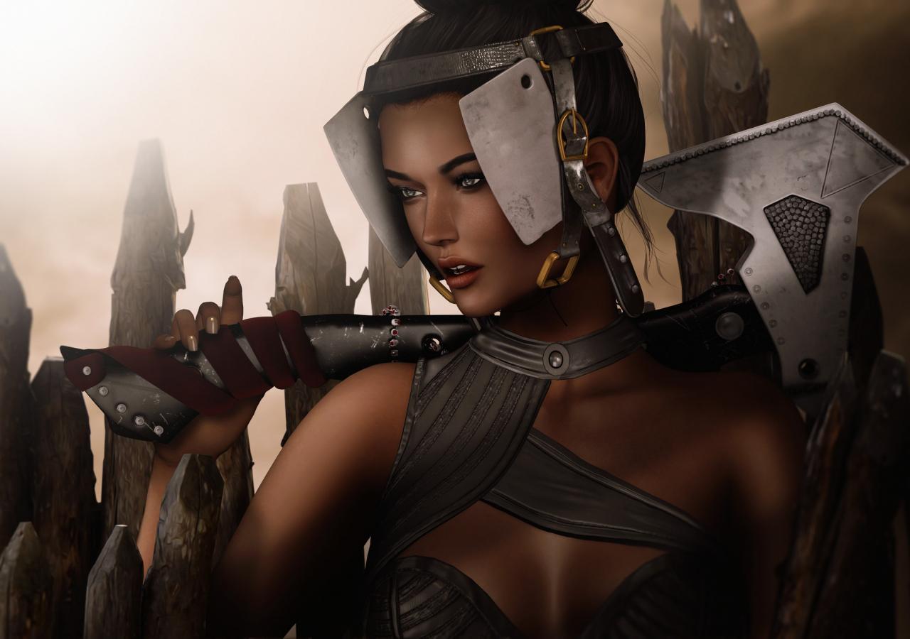 1280x900 wallpaper Fantasy girl, warrior, artwork