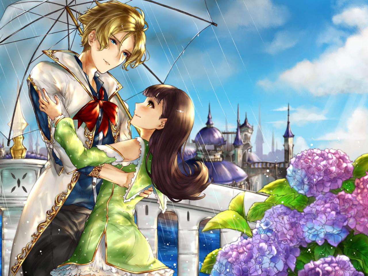 Desktop Wallpaper Cute Anime Couple Rain Umbrella Hd Image Picture Background 38ivym