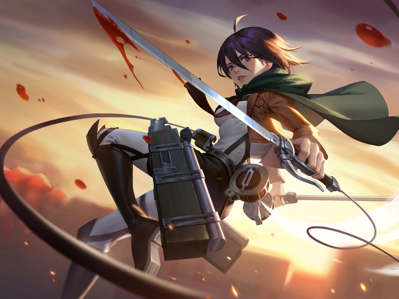 Desktop Wallpaper Mikasa Ackerman Attack On Titan Art Anime Girl Hd Image Picture Background 92af0e
