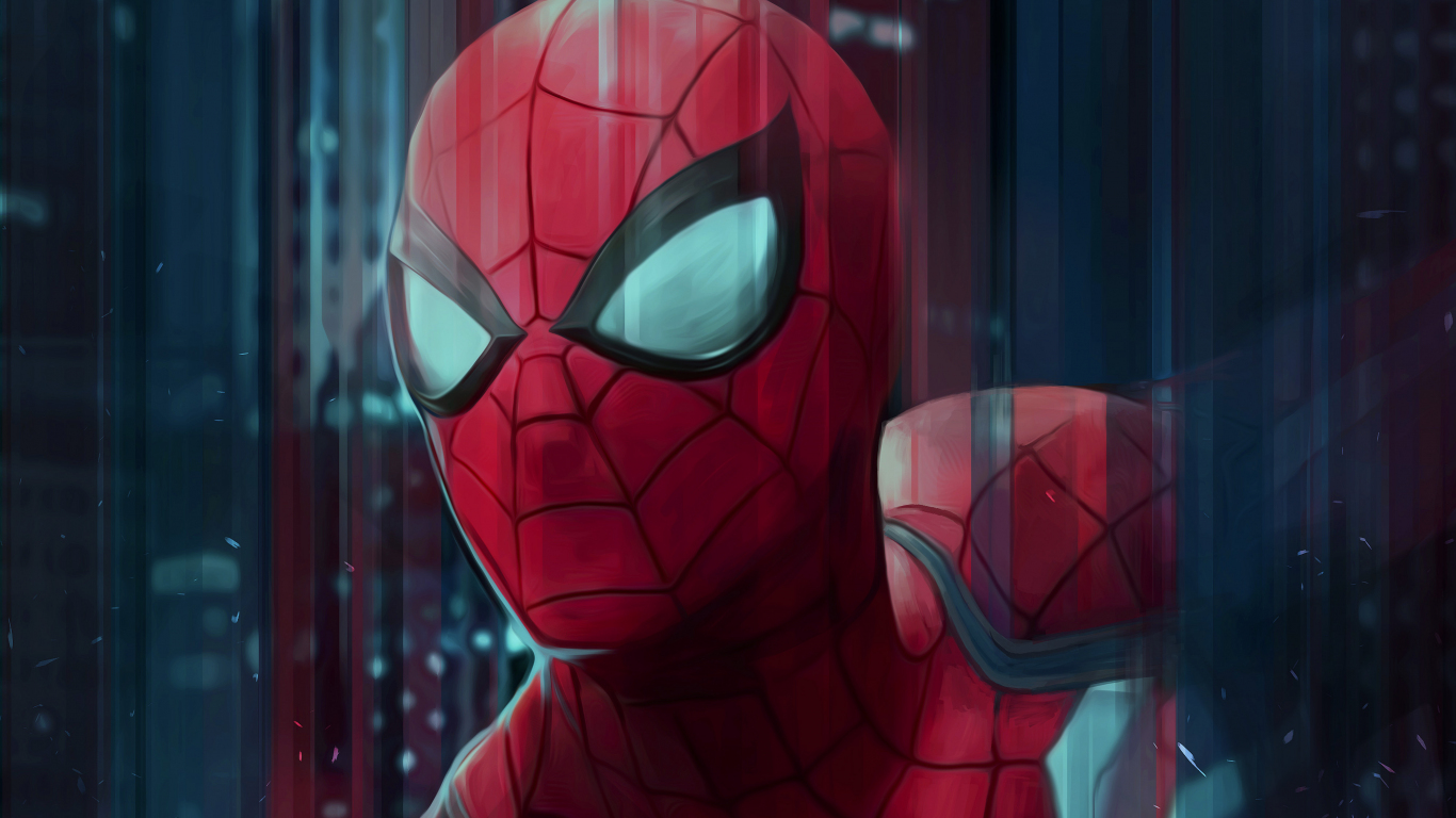 1366x768 wallpaper Spider-man, digital art, face, 4k