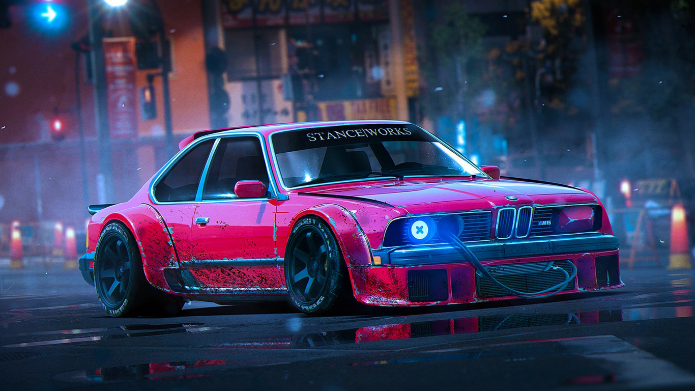 Download 1366x768 Wallpaper Red Bmw Old Car, From Video Game