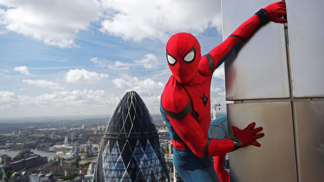 1366x768 wallpaper 2017, movie Spider-man: homecoming, stick, tower