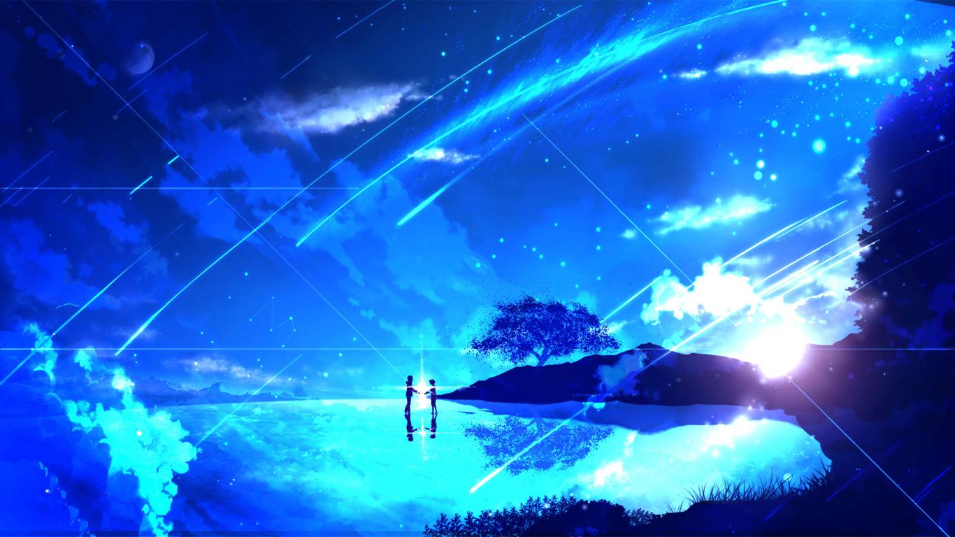 Download 1366x768 Wallpaper Couple Anime Girl Night Kimi No Na Wa