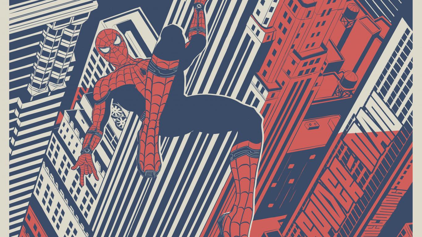1366x768 wallpaper Spider man: Homecoming, spider man, swings, fan art