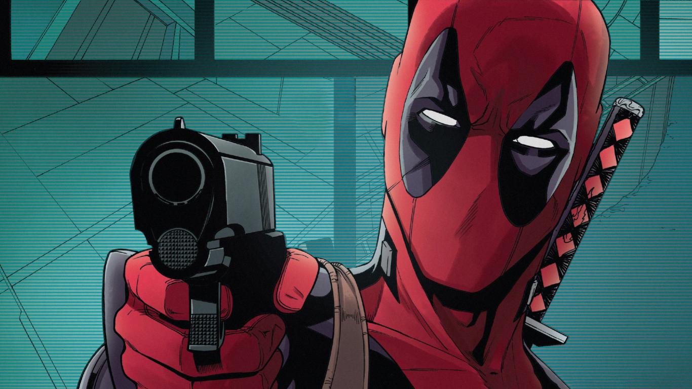 Download 1366x768 Wallpaper Gun And Face Superhero