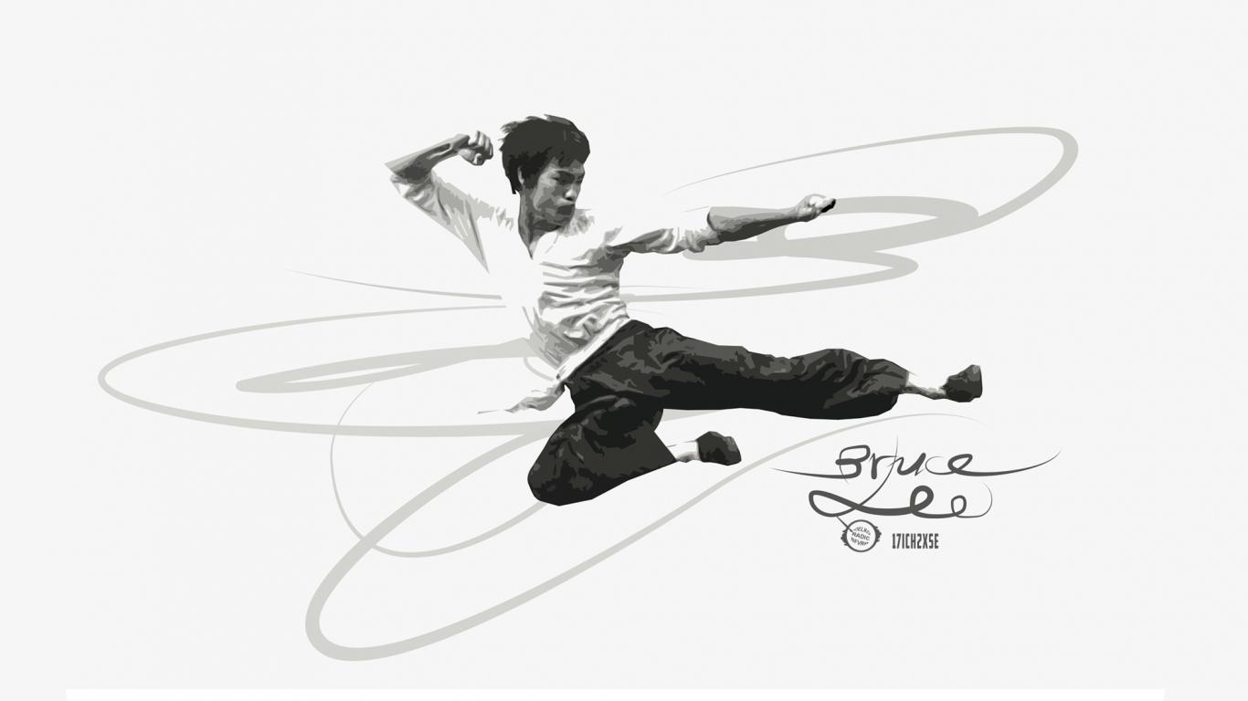 Download 1366x768 Wallpaper Bruce Lee, Artwork, Tablet, Laptop