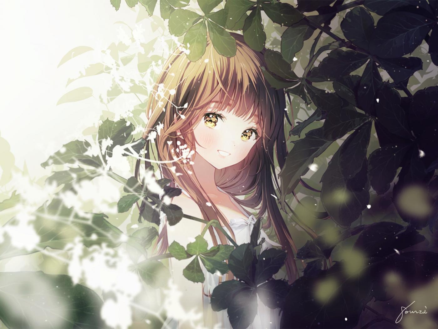 Desktop Wallpaper Smile Cute Anime Girl Original Brown Hair Hd Image Picture Background 0829f1