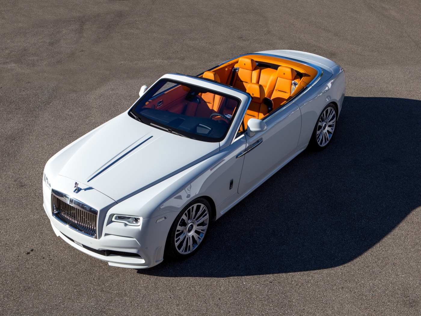1400x1050 wallpaper White Rolls-Royce Dawn, top view, luxury car