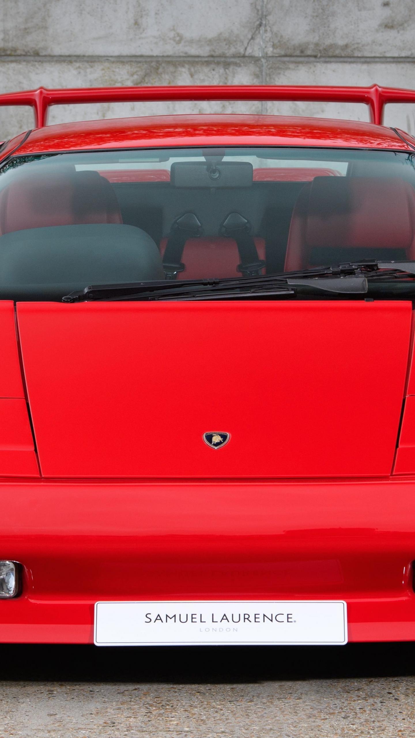 Download 1440x2560 Wallpaper Lamborghini Diablo Red Front 5k Qhd