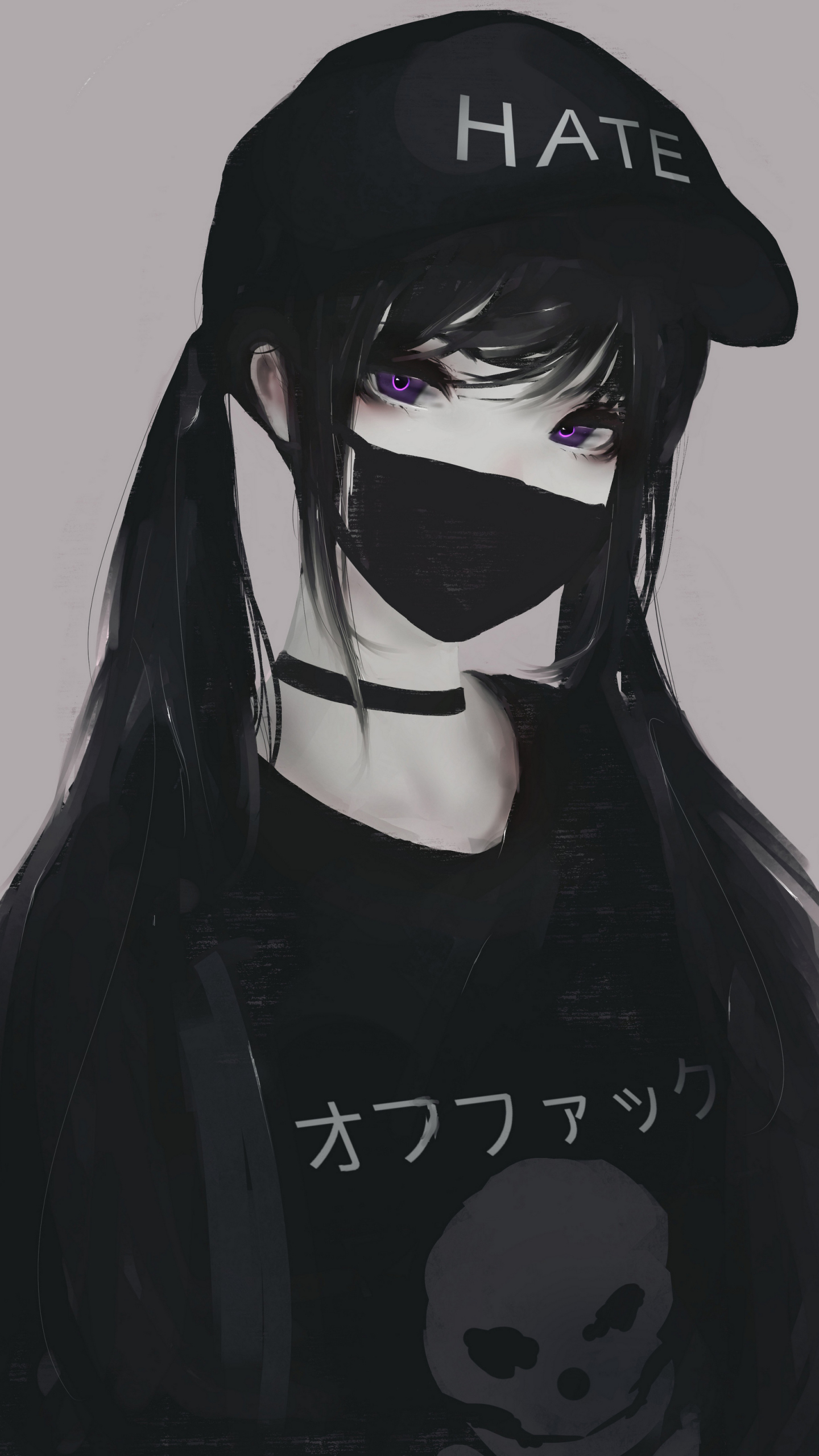 Download 1440x2560 Wallpaper Black Hair Anime Girl, Mask ...