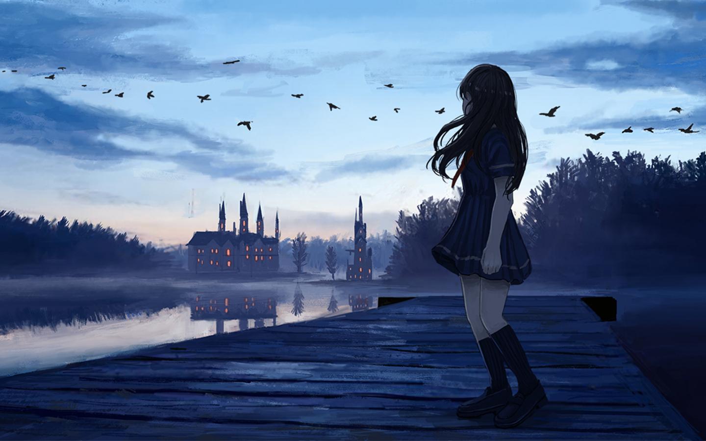 Download 1440x900 Wallpaper Sunset, Anime Girl, Dock ...