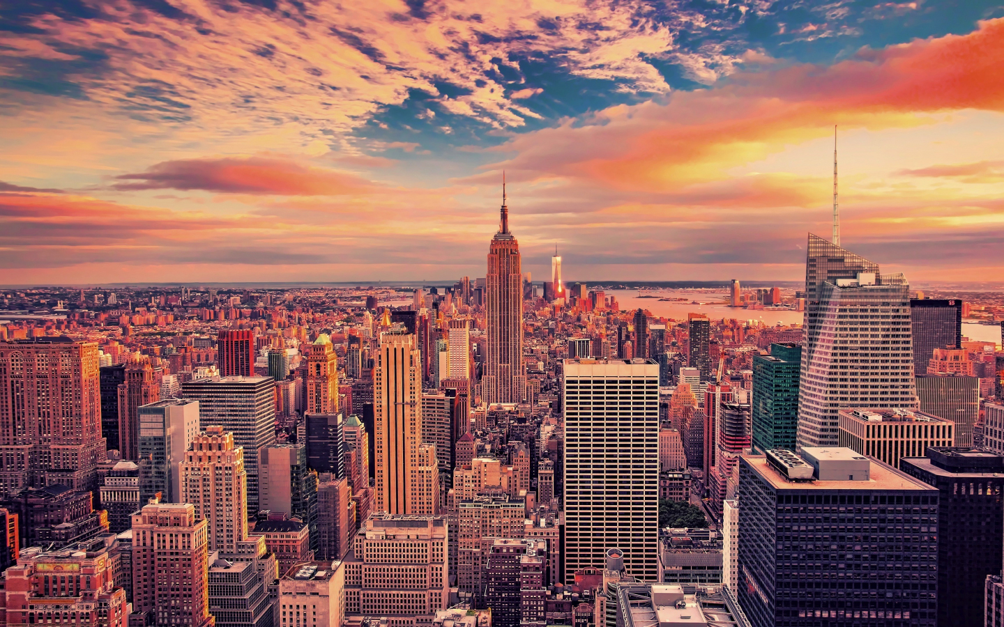 1440x900 wallpaper Empire state building, buildings, skyscrapers, new york city, sunset, 4k