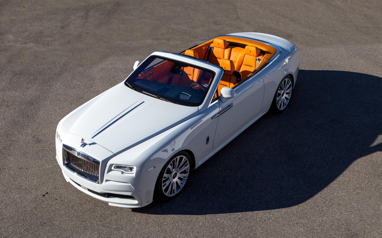 1440x900 wallpaper White Rolls-Royce Dawn, top view, luxury car