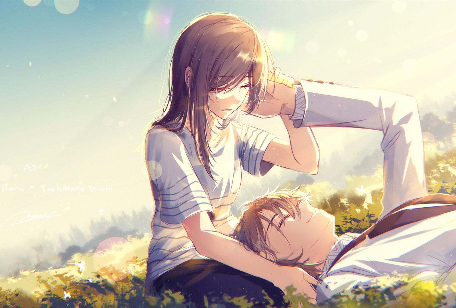 1600x1200 wallpaper Cute, anime, couple, meadow, love