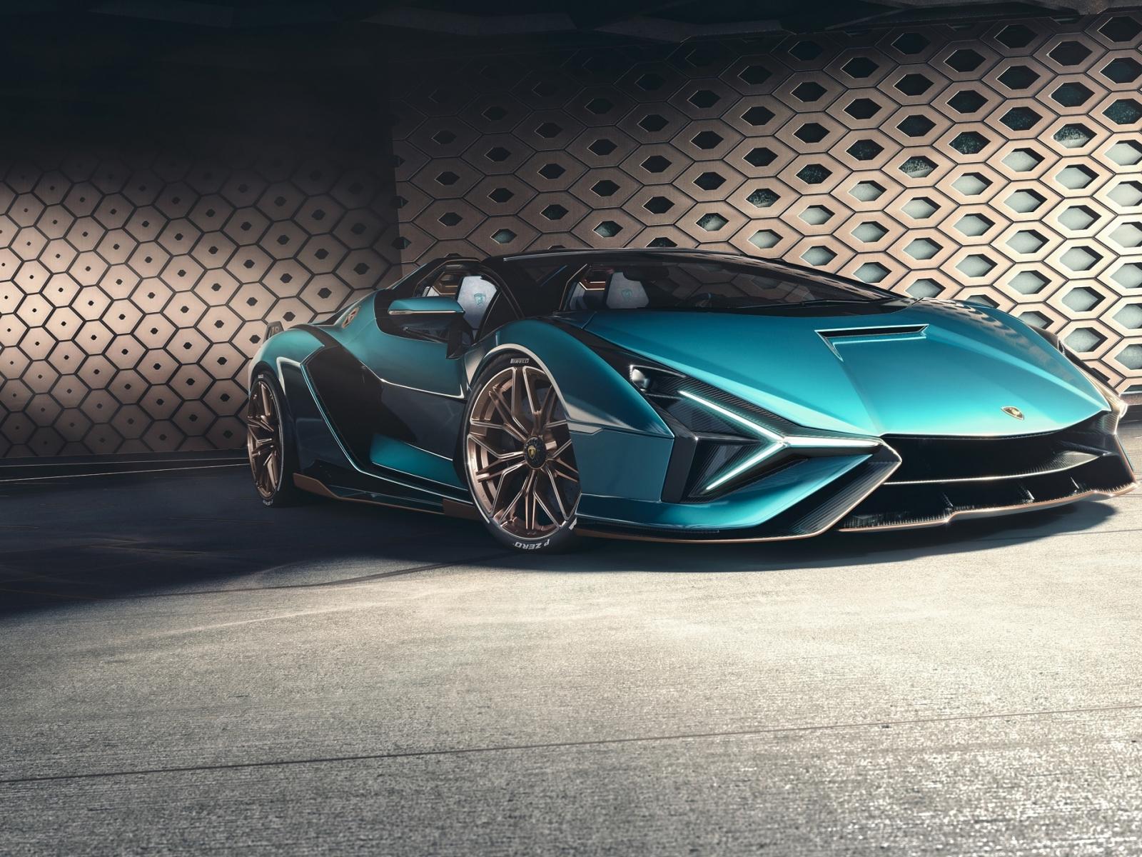 Desktop Wallpaper Blue Lamborghini Sián Fkp 37, 2020, Hd ...